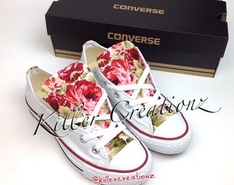 Custom Converse low tops with floral print ANY SIZE