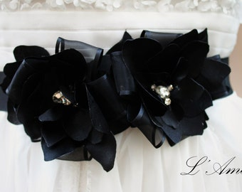 Sale-Hand made Black bridal sash, wedding sash, black flower sash, Bridesmaid sash