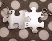 Puzzle Piece Necklaces INITIALS Only Hand Stamped  - Choose Your Quantity -Bridesmaids - Best Friends - Hand Stamped