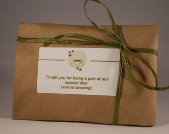 Custom Eco-Friendly Specialty Coffee Wedding Favors in Kraft Paper Wraps - Rustic wedding. Freshly Roasted Coffee.