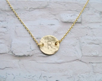 Gold Initial Necklace, Hand Stamped Initial Necklace, Gold Monogram necklace, Personalized Custom, Silver or Gold, Mom,