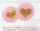 Valentines Day Lollipops, Light Pink and Gold Wedding Favors, Heart Lollipops, Gold Wedding Favor, Sweet Caroline Confections -Set of Six