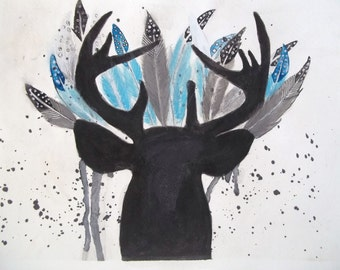Deer with Feather Ensemble Black White Grey Blue