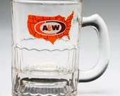 Vintage advertising mug A&W Root Beer Child's Mug orange brown US states logo mug 70's