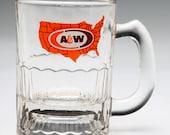Vintage advertising mug A&W Root Beer Child's Mug orange brown US states logo mug 70's