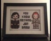 Game of Thrones Jon Snow & Ygritte Cross Stitch Picture Framed