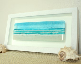 """Landscape Beach in a Box-FREE UK DELIVERY-Landscape Panoramic Turquoise Seaside Glass Framed Picture-Fused Glass Wall Art 34x18cm / 13x7"""""""