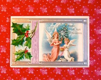 Vintage Christmas Angels Postcard Embossed