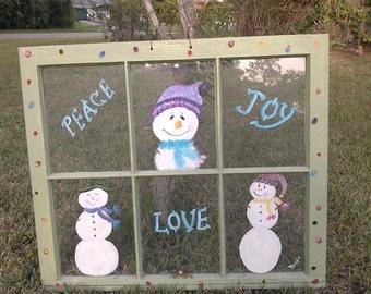 Painted Old Window, Vintage window art,Christmas window, Snowmen