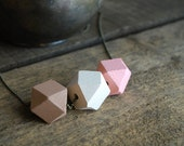 """Geometric necklace wood bead """"Rosewood """" Modern Minimal jewelry // christmas gift for her //geometric jewelry // Rosé beige brown"""