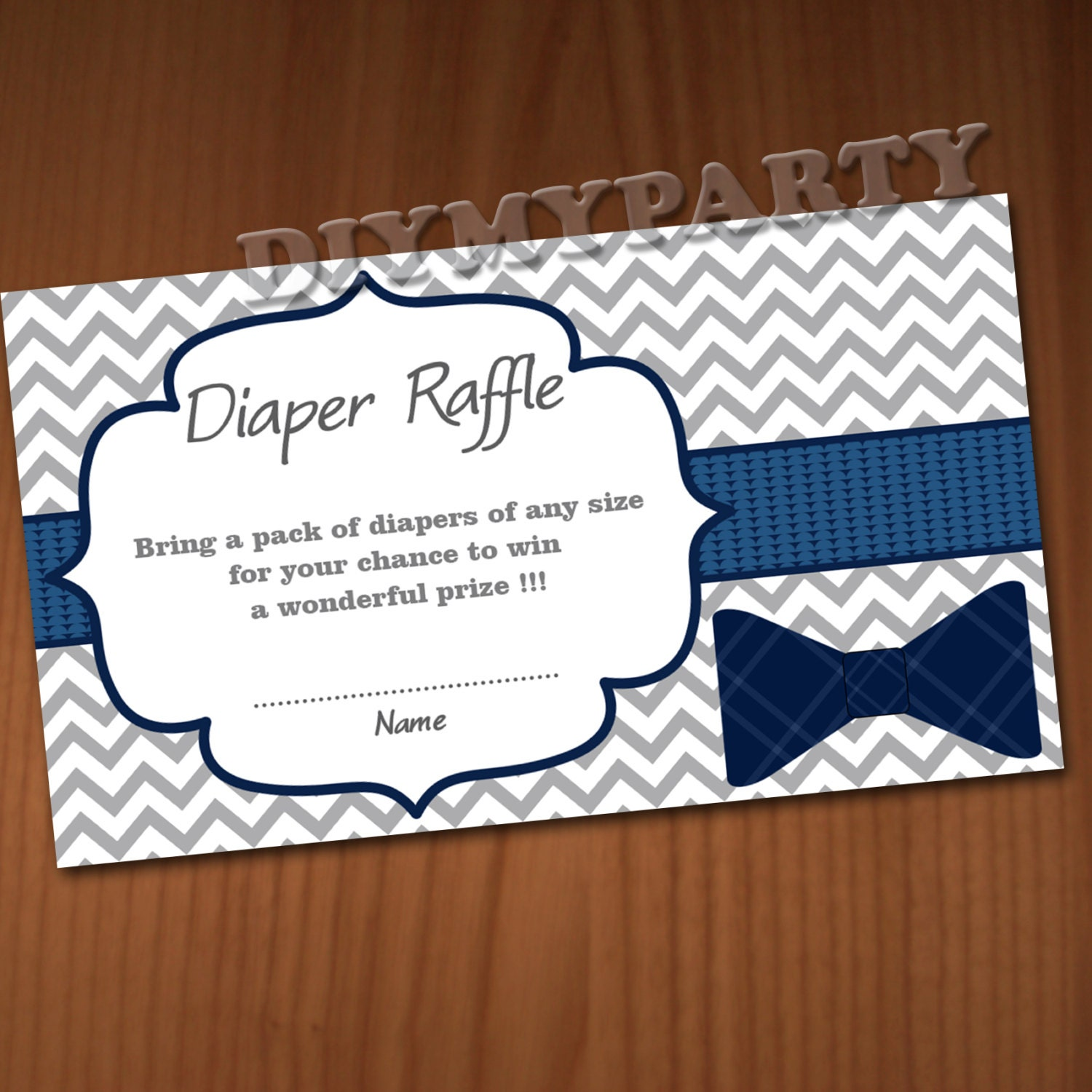 Baby Shower Diaper Raffle: Bow Tie Baby Shower Diaper Raffle Ticket Diaper Wipe Raffle