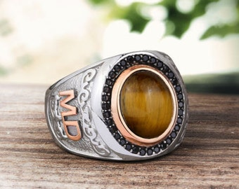 Personalized Silver Ring With Individual 10k GOLD Initials Mens Gemstone Handmade Vintage Ottoman Style :FREE Shipping via FedEx 59374