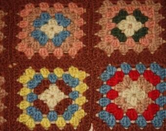Crocheted Colorful AFGHAN Square Afghan Blanket Granny Square Afghan
