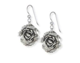 Sterling Silver Peony Earrings Jewelry PNY-E