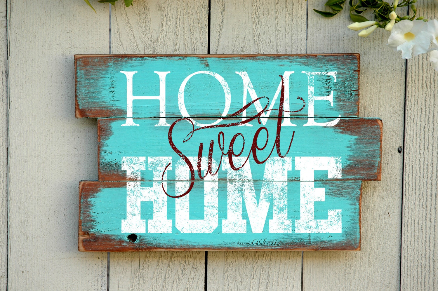 Home sweet home wood pallet sign reclaimed wood by for Home decor quotes signs