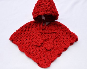Baby, Poncho and Bonnet Set, Size 3, 6, 9, 12 Month, Red, Toddler, Birthday, Gift, Present, Baby Shower