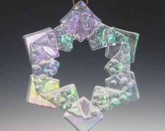 BAUBLES Crystalline Clear Iridized Snowflake, Fused Glass Ornament Suncatcher