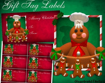 "Gingerbread Man""Gingerbread Men"" Gift Tag Labels - Digital Download"