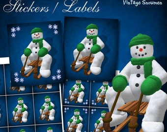 Vintage Snowmen on Sledge Stickers - Digital Download