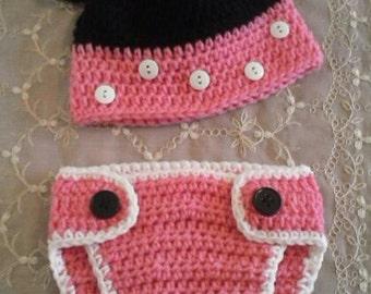 Crochet Minnie baby hat and Diaper set - photo prop