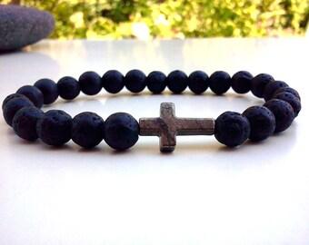 Pyrite Cross bracelet, Cross bracelet, Lava bracelet, Lava Cross bracelet, Lava Rock bracelet, Pyrite bracelet, Sideways Cross bracelet
