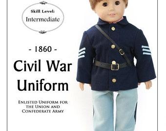 Pixie Faire Thimbles and Acorns 1860 Civil War Uniform Doll Clothes Pattern for 18 inch American Girl Dolls - PDF