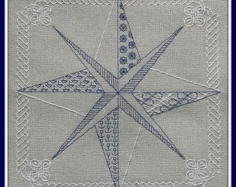 Compass - embroidery pattern