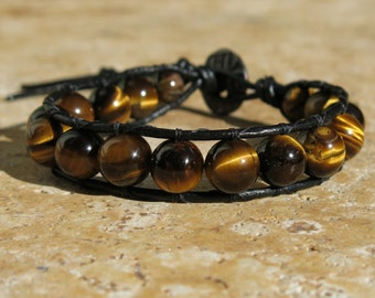 Mens Tiger Eye single leather wrap bracelet with Brown leather . 10mm gemstones, Adjustable bracelet. Wooden OM Button, Intuition, Grounding