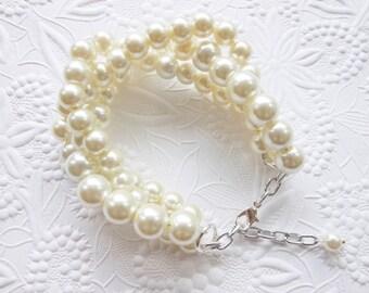 Ivory Pearl Braided Bracelet, Chunky Statement Pearl Bracelet, Bridal Bracelet