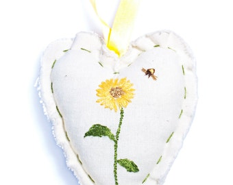Sunflower and bee heart