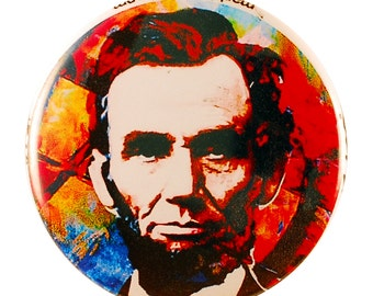 Abe Lincoln Pin - pinback button by Mark Lewis Art - kl