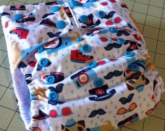 Sale! Medium One Size Pocket Diaper in Hipster Bulldogs