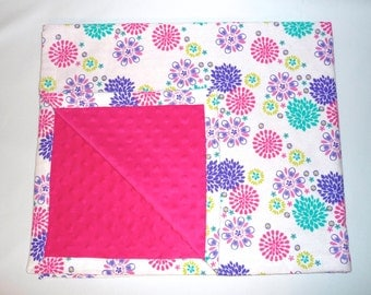 Hot Pink, Bright Teal and Purple Flannel / Minky Baby Blanket