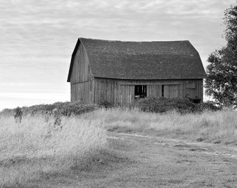 Old Barn photo print, black and white art photography, Michigan country picture, large paper canvas rustic wall decor 8x10 16x20 20x30 24x36