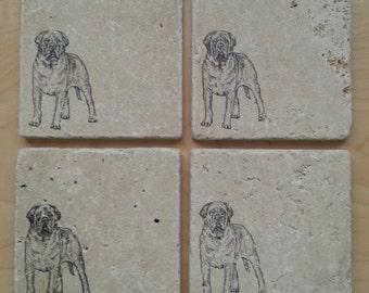 Natural Tumbled Marble Stone Mastiff Coasters