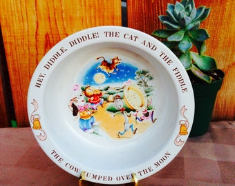 1984 Avon Baby Keepsake Cat and The Fiddle bowl