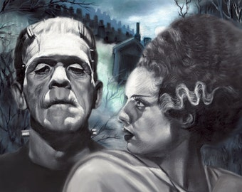 "Frankenstein & Bridal painting, poster, print, reproduction, pastel drawing by artist eugene, 16""x20"",22.4""x28"""