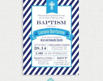 Printable Baptism Invitation- Nautical Baptism Invitation - DIY Printable Invite - Christening, First Communion, Dedication, Baby Blessing