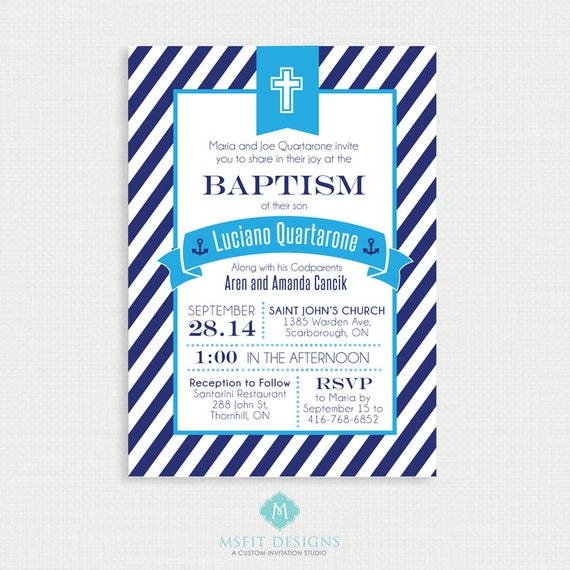 Printable Baptism Invitation- Nautical Baptism Invitation - DIY Printable Invite - Christening, First Communion, Dedication, Baby Blessing