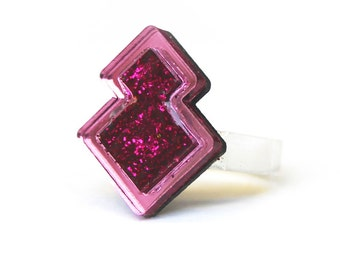 Pink Glitter Resin Geometric Sterling Silver Ring