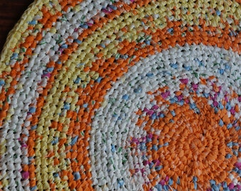 "39"" Crochet Rag Rug in summer colors"