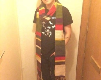 11ft Tom Baker inspired Doctor Who Scarf. Made To Order.