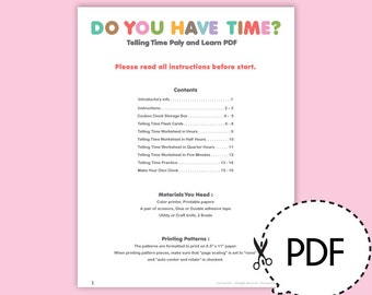 Telling Time Play and Learn-Printable PDF Download