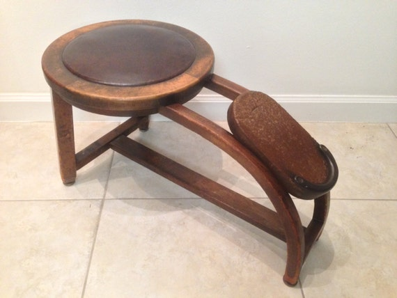Antique Shoe Shine Stool HEYWOOD-WAKEFIELD CO. w/label by ...