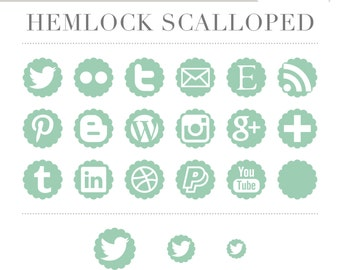 Instant Download Social Media Icons -- Scalloped (Hemlock) Pastel Mint Green