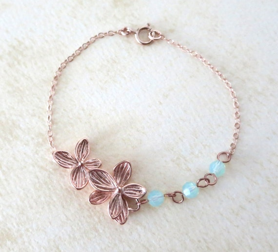 Rose Gold Flower Bracelet - delicate rose gold filled chain, orchid garden, Wedding, bridesmaid, best friends