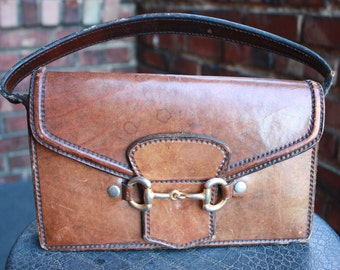 Vintage Brown Suddle Genuine Leather Clutch, hand bag