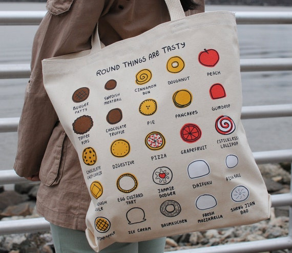 Round Things are Tasty - Eco-Friendly Reusable Screenprint Food Tote Bag - Donut - Cookie - Dumpling - Pizza - Burger - Pie - Cute Tote Bag