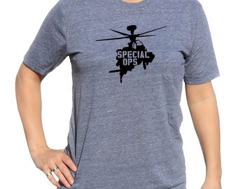 Special Ops Triblend Soft Vinyl Tshirt   Air Force Military   Shirt With Helo   Helicopter Military Shirt   MILITARY HELICOPTER TSHIRT m08