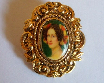WEST GERMANY Scarf Clip. Portrait Scarf Holder.